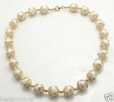 """18"""" Technibond White Agate Gemstone Chain Necklace 14K Yellow Gold Clad Silver"""