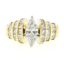 FINE 18K Gold 2.52ctw EGL Marquise Solitaire & Princess Diamond Engagement Ring