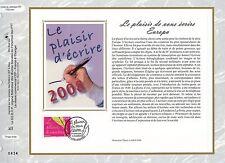 FEUILLET CEF / DOCUMENT PHILATELIQUE / LE PLAISIR D'ECRIRE 2008 STRASBOURG