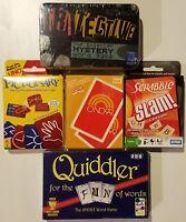 Card Games, Set of 5, O'NO99, Pictionary, Scrabble Slam, TriTective, Quiddler