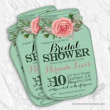 10 Mason Jar Bridal Shower Invitations, mint green, floral, rose, printed
