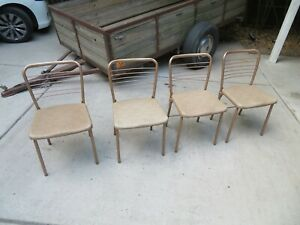 Set Vintage Cosco Mod 60 Folding Card Table Chairs 1955