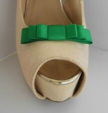 2 Small Green Triple Bow Clips for Shoes - other colours on request