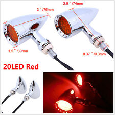 2pc Red 20 LED Chrome Shell Motorcycle Stop Brake/Running/Turn Signal/Tail Light