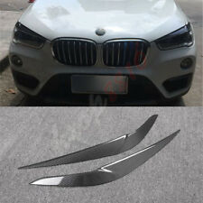 2* Carbon Fiber Headlight Lamp Eyelid Eyebrow Cover Trim For BMW X1 F48 2016-18