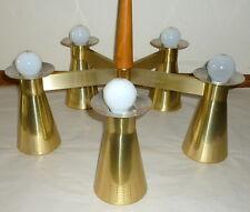 Wonderful 1950s Mid Century Modern Galaxy Light Teak & Aluminum Fixture 10 Bulbs