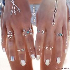 6 Pcs/set New Fashion Bohemian Gypsy Silver Plated Natural Turquoise Alloy Rings