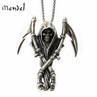 MENDEL Stainless Steel Men's Death Skeleton Skull Grim Reaper Pendant Necklace