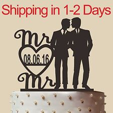 Personalized Gay Wedding Cake Topper with name, Mr and Mr,made in USA 6""
