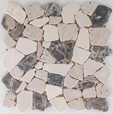 Naturstein Bruch Mosaik Marmor braun Boden Wc Fliesenspiegel  / |1Matte|ES-51632