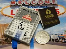 Sahara Casino Las Vegas $1 Slot Token Casino Used Cards & Matchbook (Black)