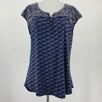 Stitch Fix Skies Are Blue Top Cap Sleeve Embroidered Blouse Blue Size Medium