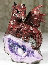 13cm Baby Dragon Figurine Burgundy on Geode w Eggs DRAGBYGE 9319844525510 NEW