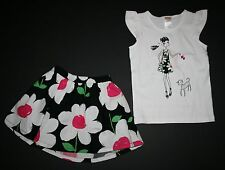 New Gymboree Daisy Girl Tee & Daisy Print Skirt Set 4 Yr Daisy Park Line Outfit