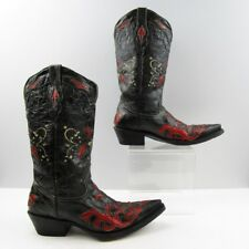 Ladies Black Red Distressed Leather Pointed Toe Flower Western Boots Size: 6.5