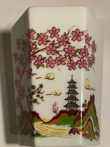 Vtg Andre Richard Cup Porcelain Octagon Cup,Japanese Tower,Pink Flowers Mountain