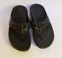 Fit Flop Black Leather Jeweled Slide Thong Sandals Shoes Womens 11...FLAW
