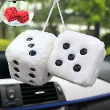 """Hanging Q Vintage 2.55"""" Hang A Charm Pair Dice Mirror Furry Car White Fuzzy"""