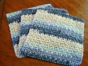 3 Crochet  Dishcloths / Washcloths 100% Cotton - Handmade - Denim