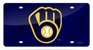 Milwaukee Brewers Premium Blue Laser Tag Acrylic Inlaid License Plate Baseball