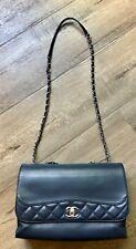 Pre-Loved Chanel Tramezzo Jumbo Flap Shoulder Bag in Blue Calfskin SHW $3600