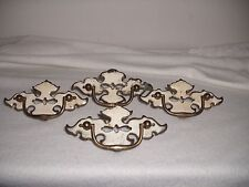 4 Antique White/Gold Colored Handled Metal Cupboard/DresserDrawerCabinet Pulls