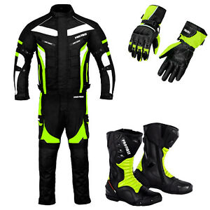 Motorbike Racing Suit Motorcycle Riding Waterproof Set Biker Leather Boots Glove