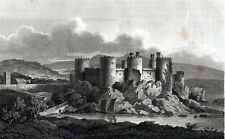 CONWAY CASTLE 1809 James Storer - Taylor ANTIQUE ENGRAVING
