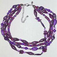Signed Chico's quadruple multi strand purple wood acrylic beads necklace