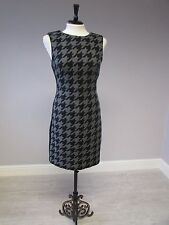 HOBBS CHECK WOOL FULLY LINED DRESS - SIZE 16 - GREY/BLACK - LINED