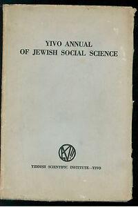 YIVO ANNUAL OF JEWISH SOCIAL SCIENCE YIDDISH SCIENTIFIC INSTITUTE 1946 EBRAICA