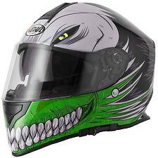 VCAN V127 Full Face Motorcycle / Motorbike Helmet - Hollow Green M