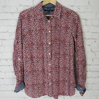 Tommy Hilfiger Blouse Shirt Top Womens Medium M Red White Blue Funky Pattern