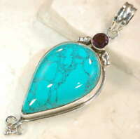 STUNNING AFRICAN TURQUOISE/AMETHYST *.925 SILVER DESIGNER PENDANT  2-5/8 INCHES