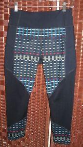 Athleta navy blue striped capri leggings S high rise running tight mesh