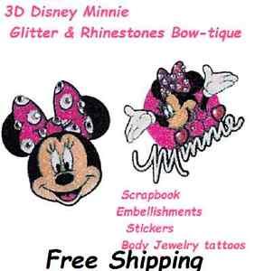 Disney Minnie Mouse 3D Rhinestone Glitter Temporary Tattoos Face Leg Chest  Neck