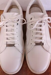 Hugo Boss Men's Shoes White Leather & Metal Plaque Sneakers US 12