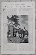 1901 PRINT ARTICLE MILITARY LIFE 18th CENTURY CAVALRY SOLDIER DESERTER
