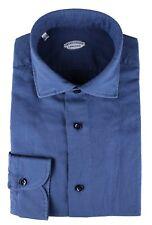 NWT VINCENZO DI RUGGIERO SHIRT blue linen cotton handmade Italy 45 18 D