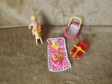 Barbie Baby Blonde Crissy Krissy Doll Nursery with Rocking Horse Mini Toys Wagon