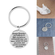 ALWAYS REMEMBER YOU ARE BRAVER ROUND PENDANT KEY RING INSPIRATION KEYCHAIN _GG
