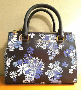 Aunthentic Michael Kors Kellen XS Satchel Navy Crossbody MK Bag Flower Design