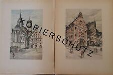 Stuttgart 12 große Farbdrucke anno 1946 nach kolorierten Zeichnungen... selten!