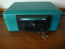 Sentry 1100 Safe with Key Teal Green Fireproof Lock Box Documents