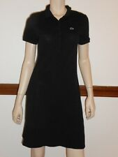 Lacoste Polo Dress Black Short Sleeves Made in France Cotton Size 40 Large