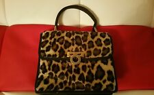 TRANSOCCHI Leopard print and leather handmade handbag