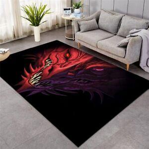 3D Red Dragon Demon Angry Animal Rectangle Rug Carpet Mat Living Room Bedroom