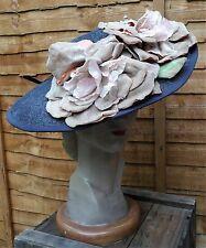 Vintage 1930s Navy Blue Wide Brim Picture Hat Large Velvet Flowers
