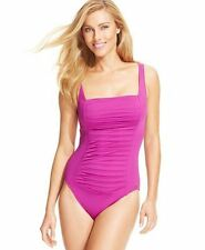 NWT Calvin Klein Pleated Front One-Piece Swimsuit Sz 6 Orchid K4
