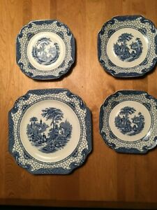 Set of 4 LANDSCAPE pattern Blue &White Pieces BY ADAMS CHINA ENGLAND